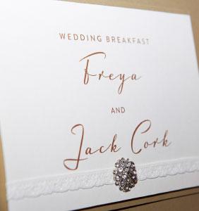 Wedding Portfolio - Freya & Jack menu